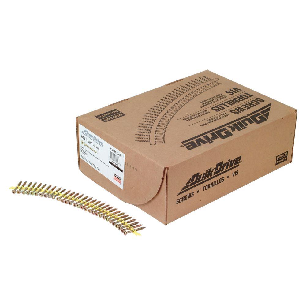 Quik Drive no8 x1-3/4 po - Vis sur bande WSNTL - Zingué jaune (2 000/boîte)