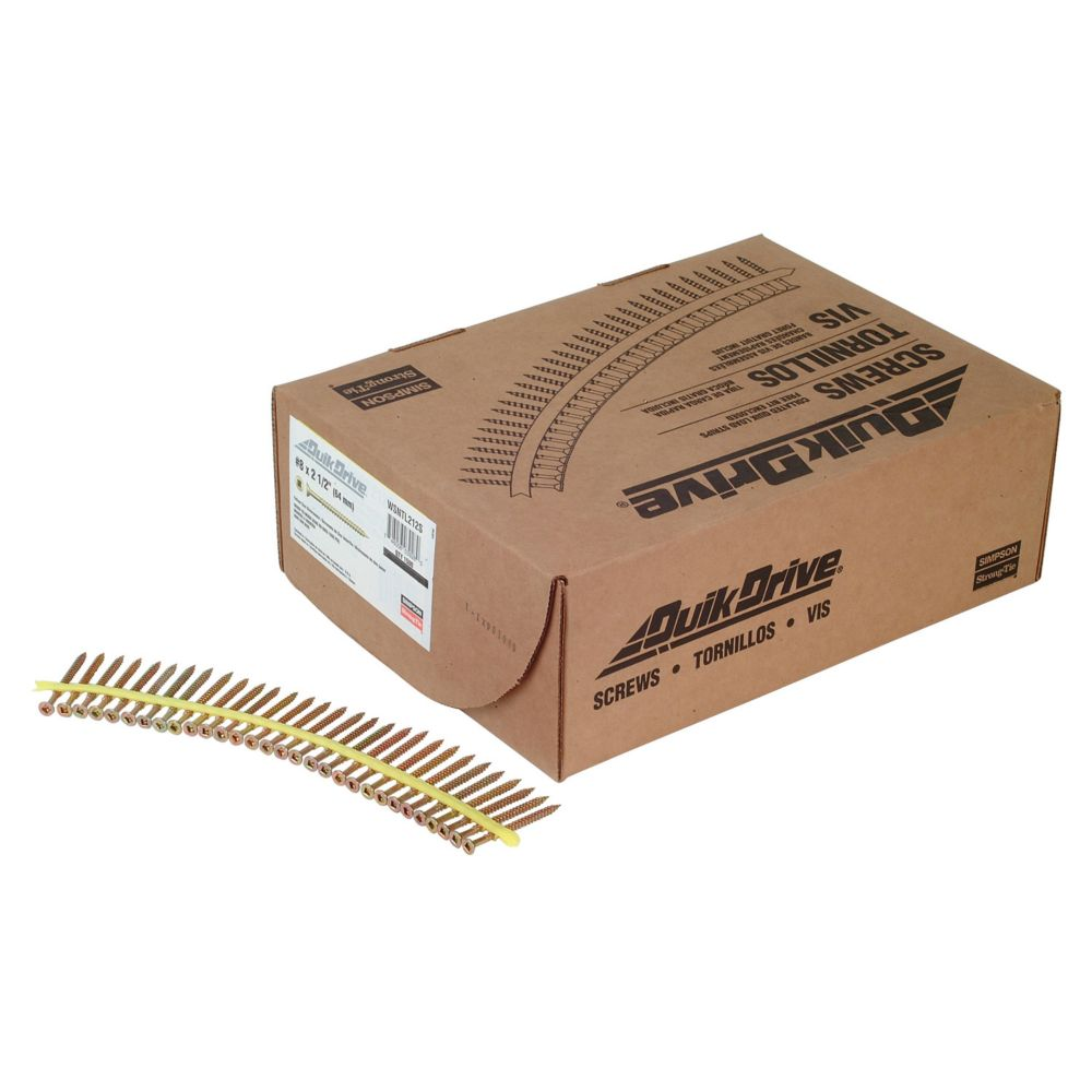 Quik Drive #8 x 2-1/2 Inch Yellow Zinc WSNTL Collated Screw (1,500/Box)