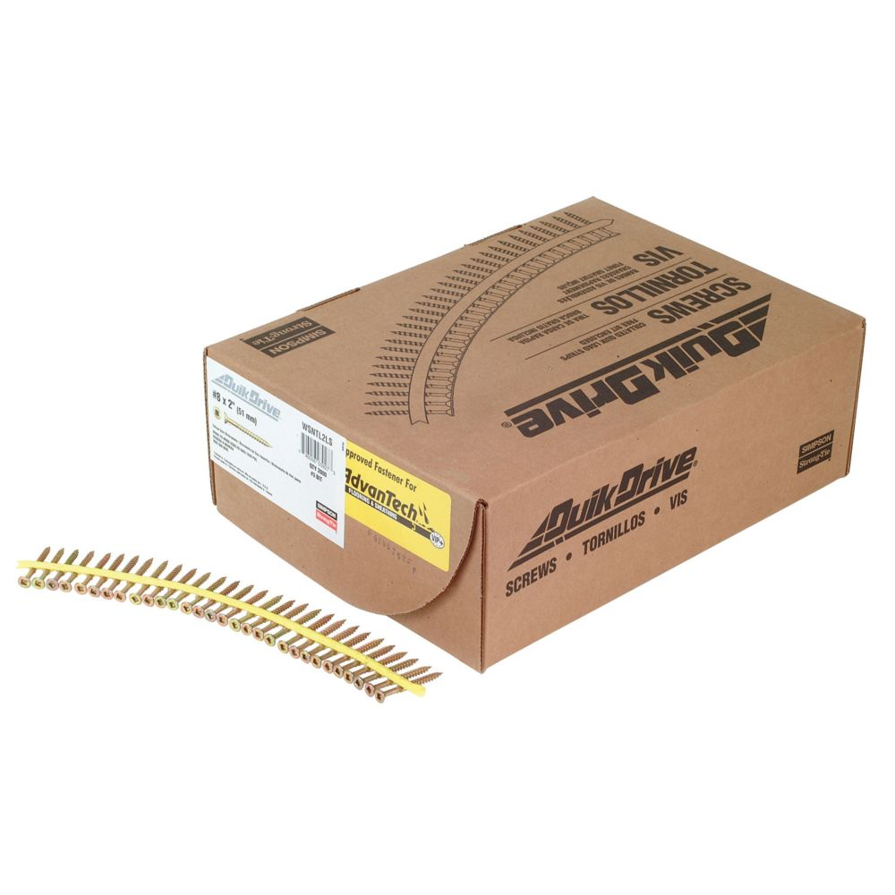 Quik Drive #8 x 2 Inch Yellow Zinc WSNTL Collated Screw (2,000/Box)