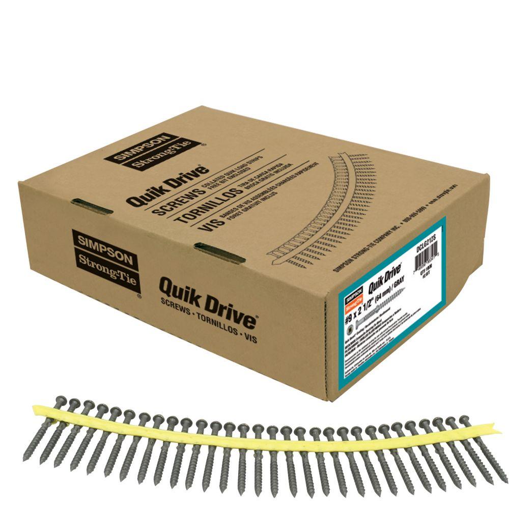 Quik Drive #9 x 2-1/2 Inch Quik Guard Gray Collated Composi-Lok Screw (1,000/Box)