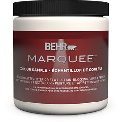 Behr Marquee Ultra Pure White Matte Interior Paint Sample with Primer, 8 oz