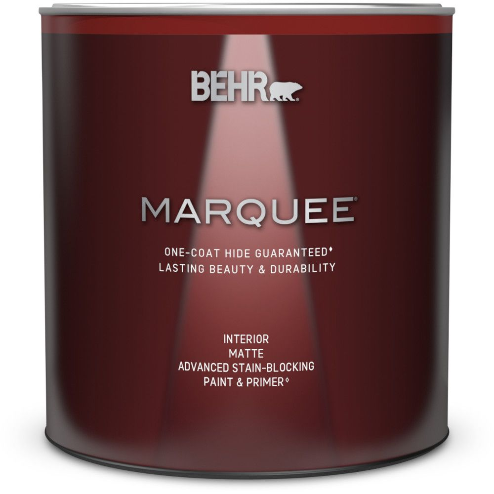 Behr Marquee Interior Paint Primer In One Matte Ultra Pure White 939 Ml The Home Depot