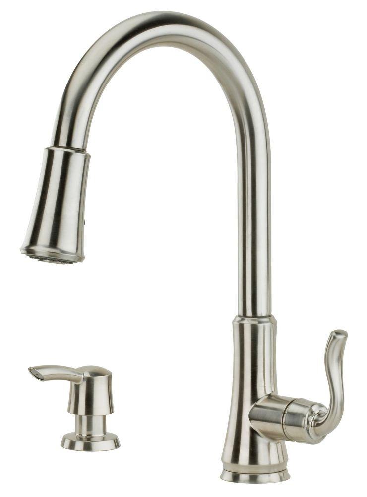 Cagney robinet de cuisine rétractable à bec arqué Hanover - Acier inoxydable