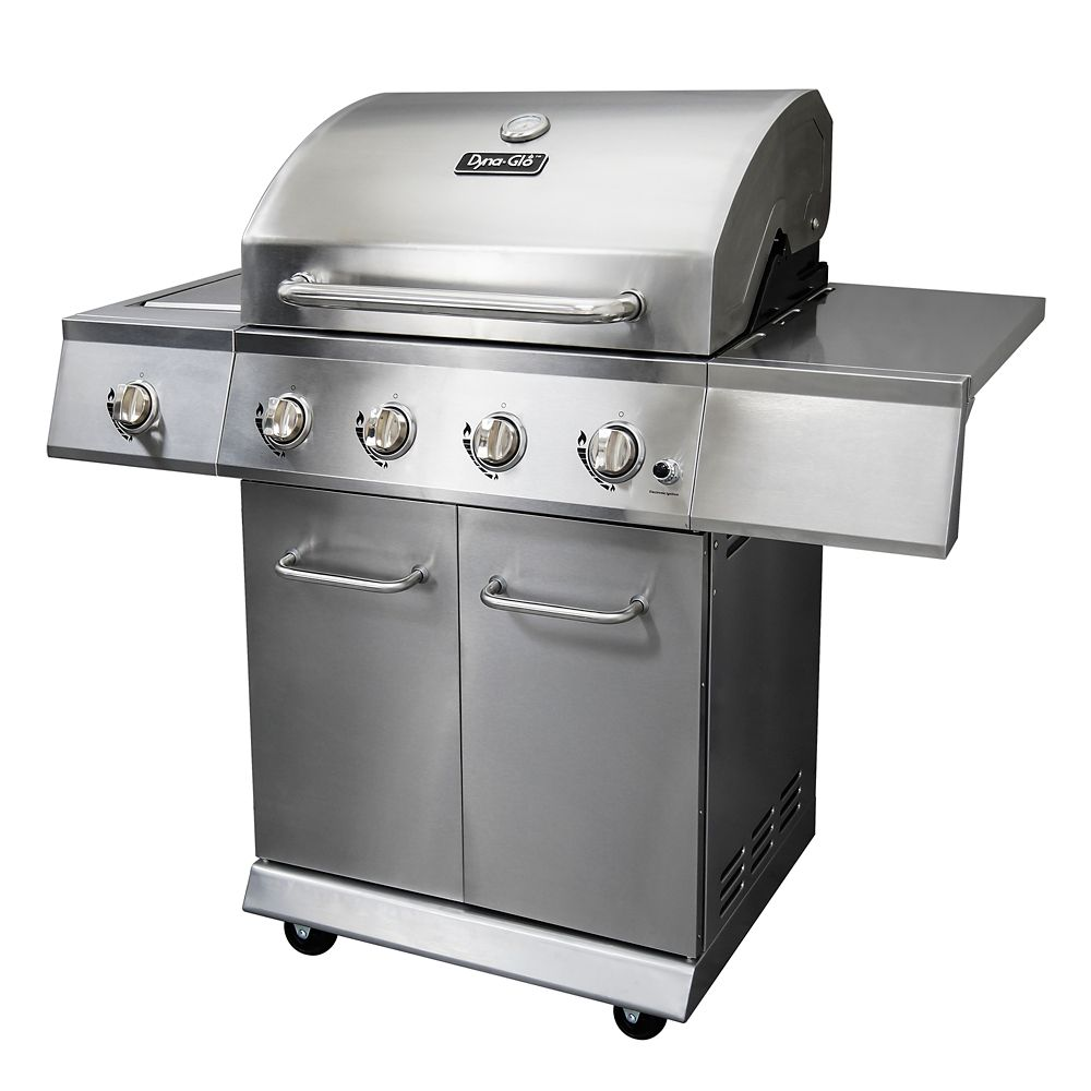 Dyna glo premium 4 burner bbq with side burner liquid propane in stainless steel the home - Home depot bbq propane ...