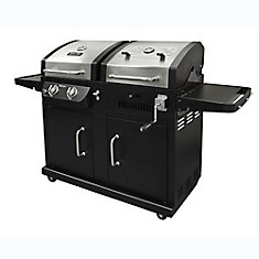 Dual Function 2-Burner Propane Gas and Charcoal BBQ in Black and Stainless Steel