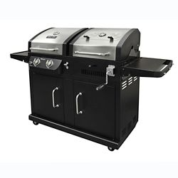 Dyna-Glo Dual Function 2-Burner Propane Gas and Charcoal BBQ in Black and Stainless Steel