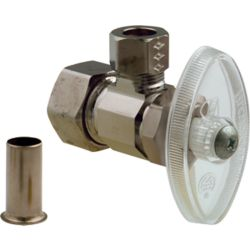 BrassCraft Angle Valve 1/2 Inch Nominal Compression X 3/8 Inch Od Compression With Insert