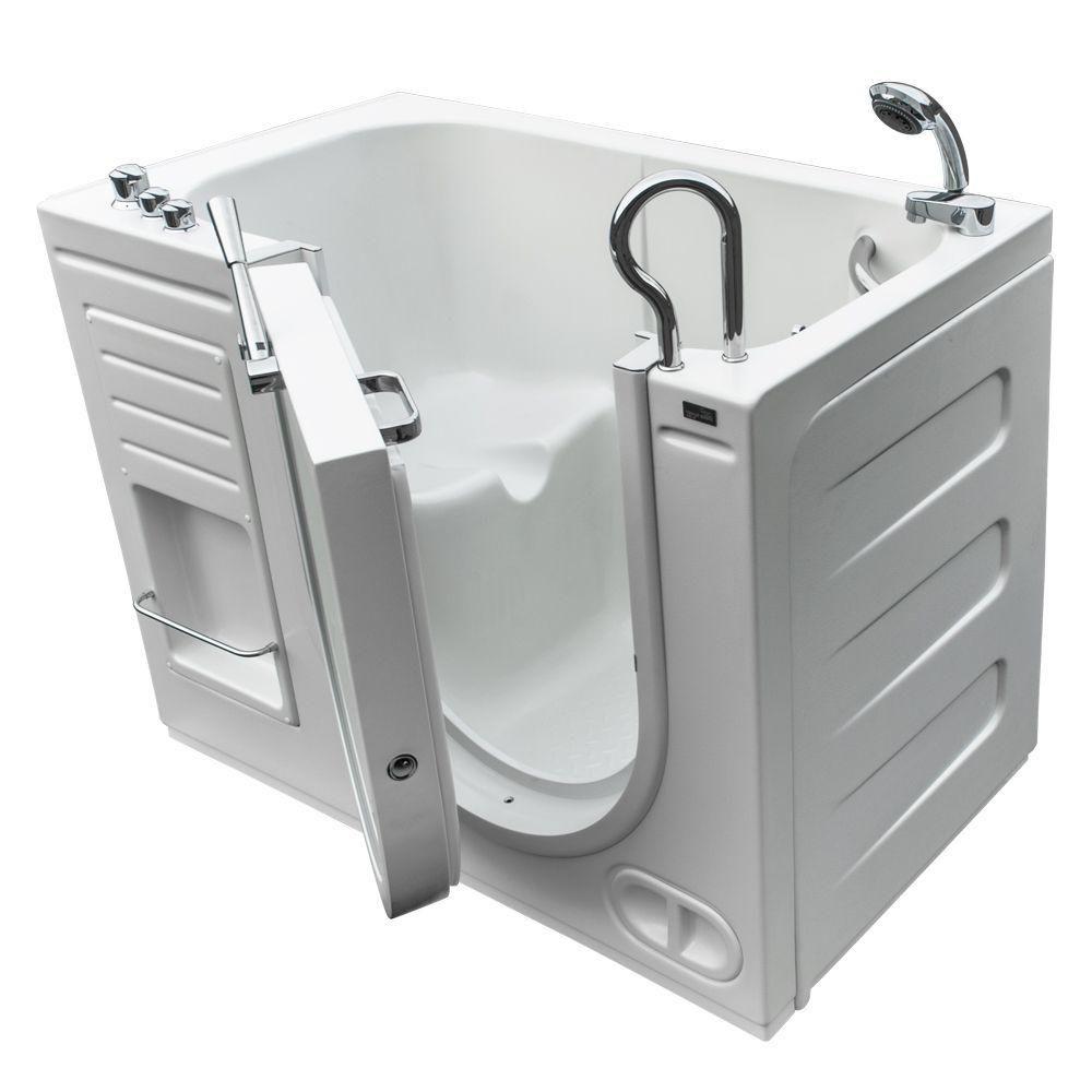 Une baignoire de trempage luxeuse avec des contrôles thermostat et une ouverture de la porte vers...