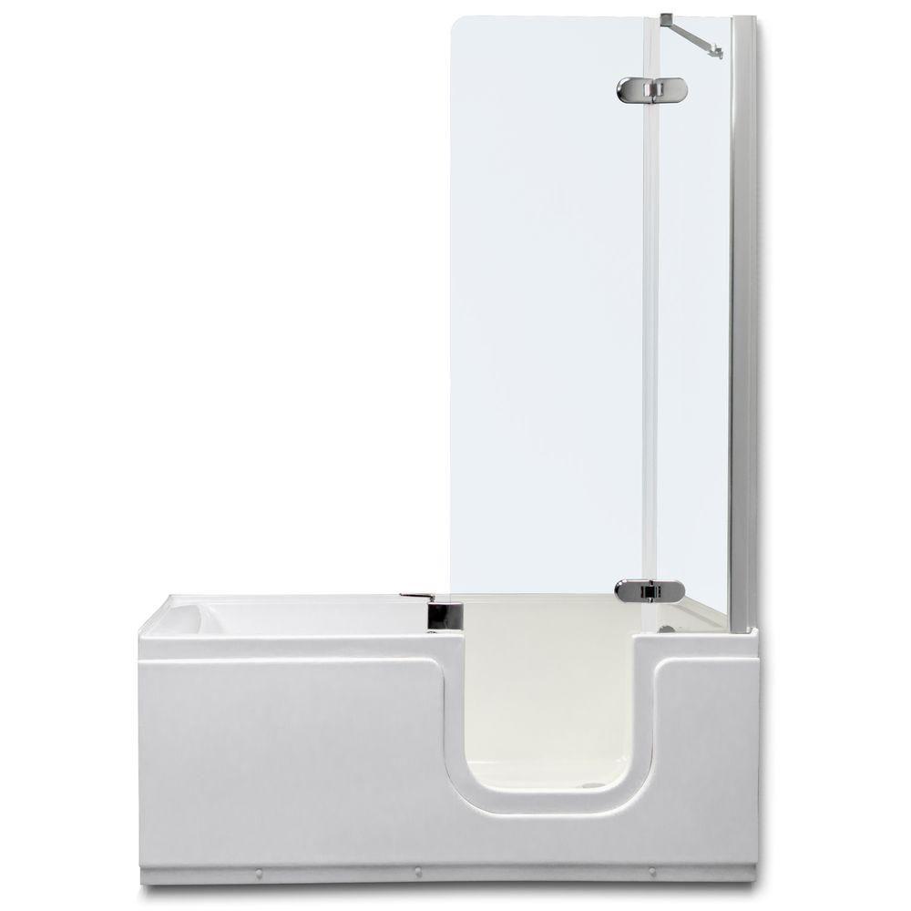 Homeward Bath Aquarite Deluxe 4.92 ft. Right Drain Universal Fit Walk-In Bathtub, Tempered Glass Shower in White
