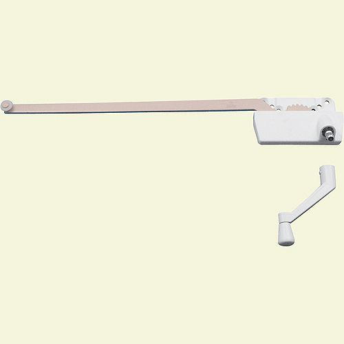 Prime-Line Single Arm Operator, 13-1/2 inch., W/Crank, Surface Mount, L.H., White