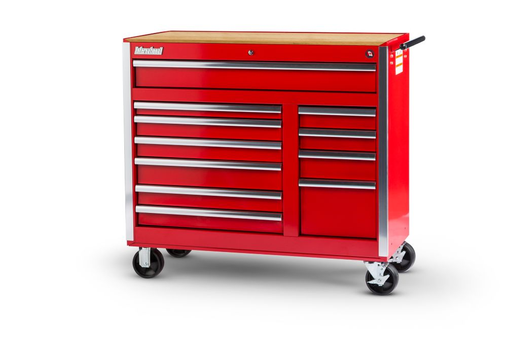 Red Tool Cabinet with Wooden Work surface - 42 Inch 11 Drawers