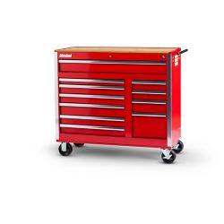 International 42-inch 11-Drawer Tool Cabinet in Red with Wooden Work Surface