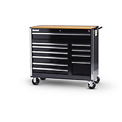 International 42-inch 11-Drawer Tool Cabinet in Black with Wooden Work Surface