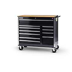 Black Tool Cabinet with Wooden Work Surface - 42 Inch 11 Drawers
