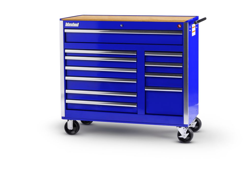 Blue Tool Cabinet with Wooden Work Surface - 42 Inch 11 Drawers