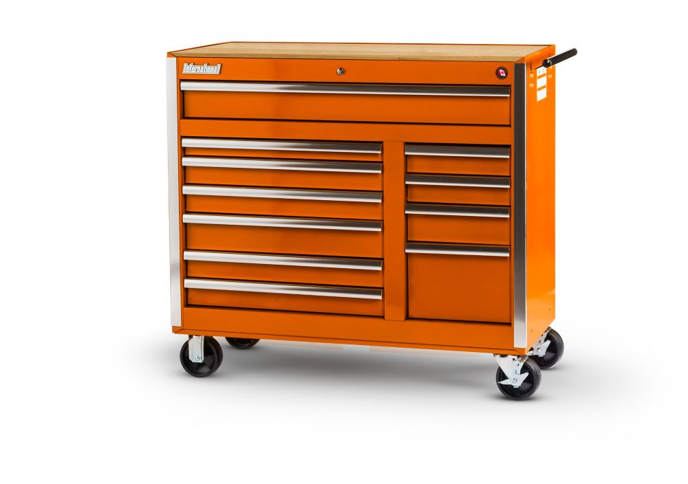 Orange Tool Cabinet with Wooden Work Surface - 42 Inch 11 Drawers VRB-4211WTOR Canada Discount