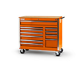 International Orange Tool Cabinet with Wooden Work Surface - 42 Inch 11 Drawers