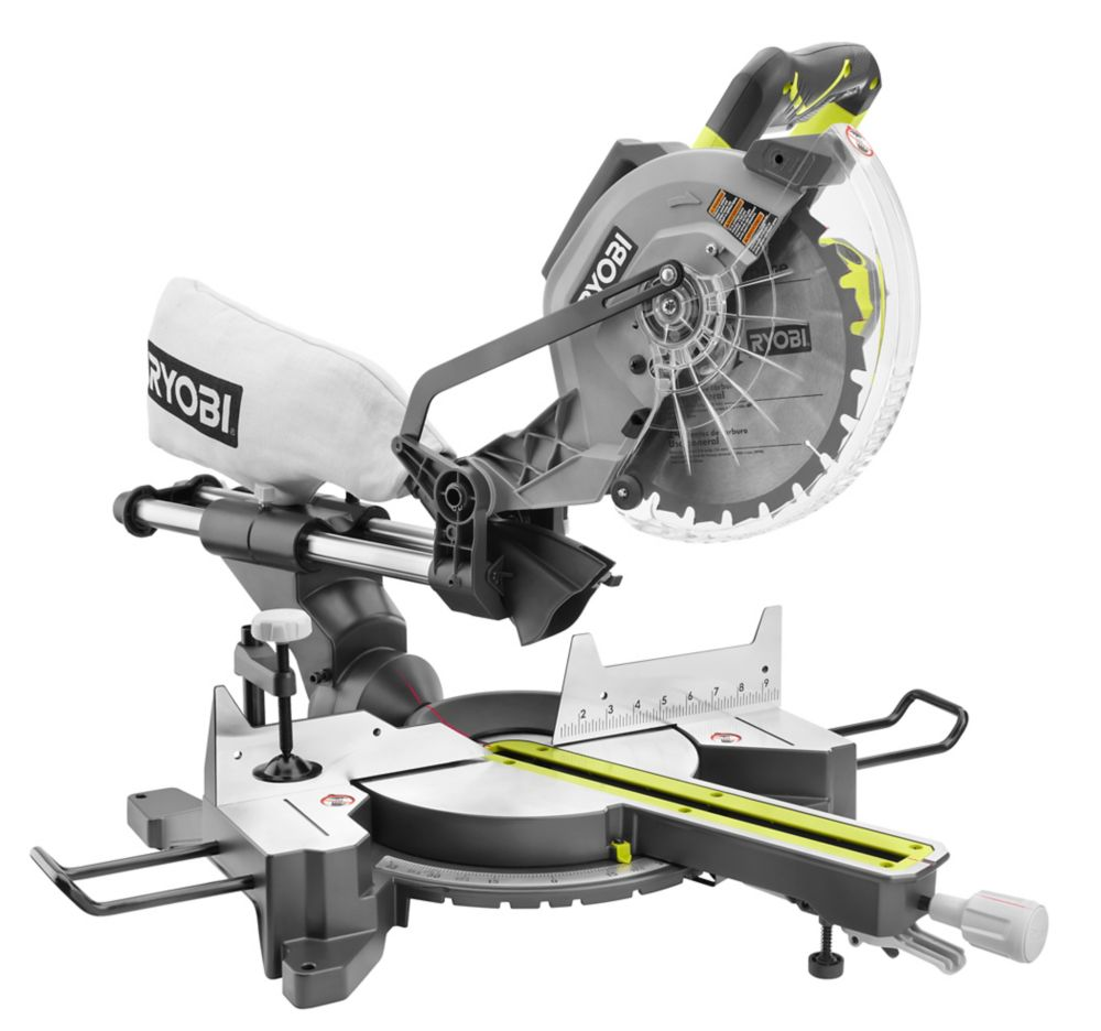 Ryobi 15 Amp 10 Inch Corded Sliding Mitre Saw With Laser
