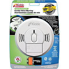 Battery Operated Combination Smoke and CO Alarm with Front Load Battery and Voice Warning
