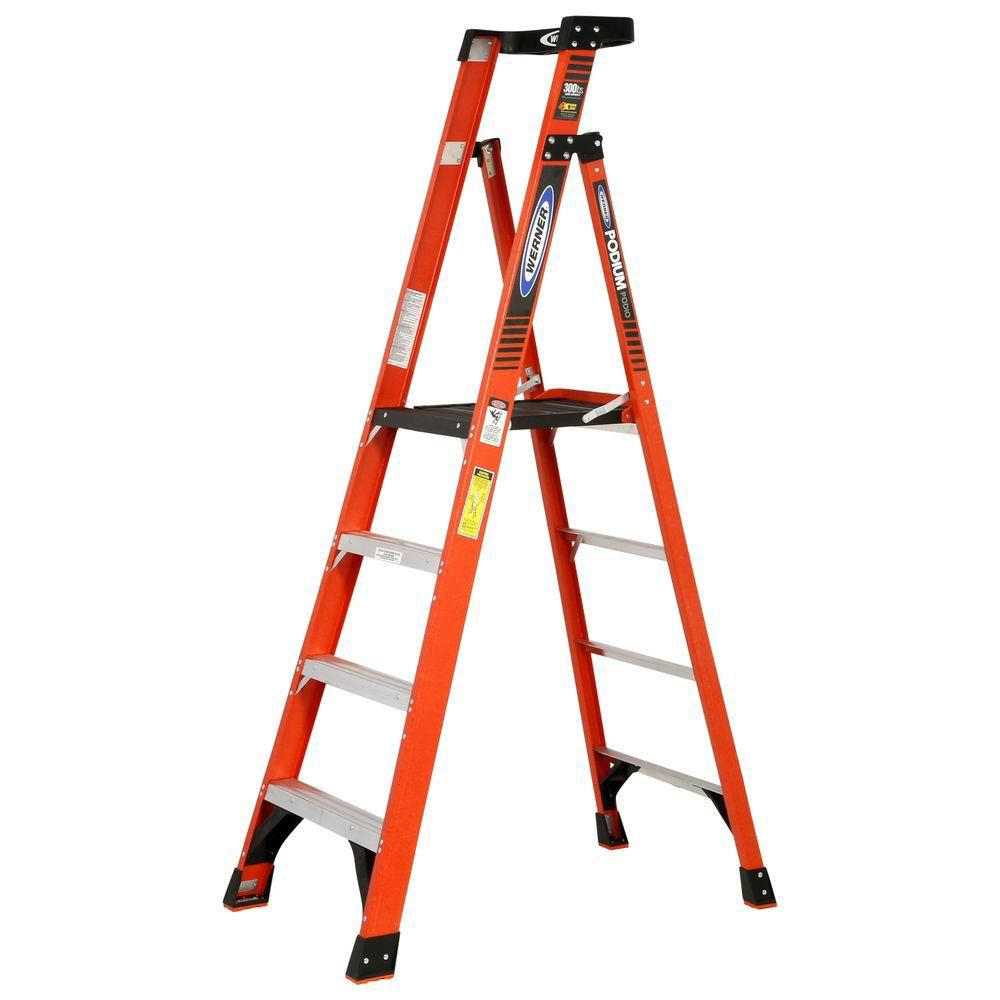 Werner 10 feet Reach fibreglass Podium Ladder with 300 Lb. Load Capacity Grade IA