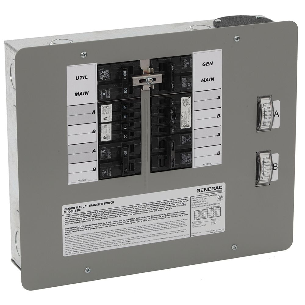 Generac 50-Amp 12,500-Watt Indoor Manual Transfer Switch for 12-16 Circuits