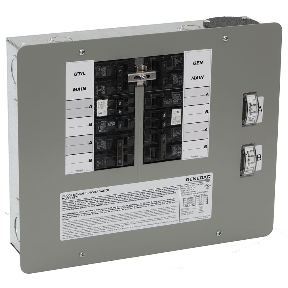 Watt Meter Home Depot Canada: Generac 30-Amp 7500-Watt Indoor Manual Transfer Switch For