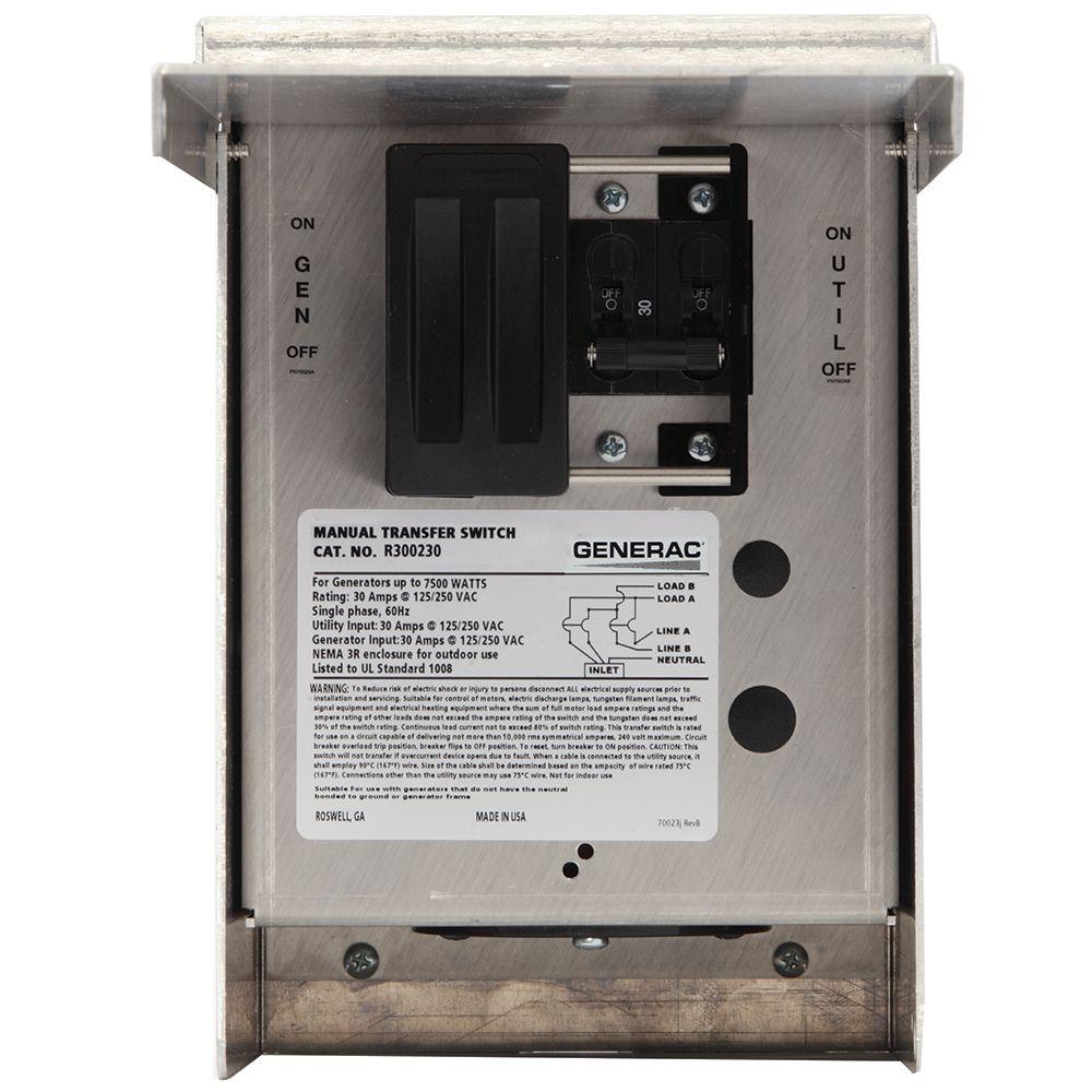 Generac 30 Amp 125/250-Volt 7,500-Watt 1-Circuit Manual Transfer Switch    The Home Depot Canada
