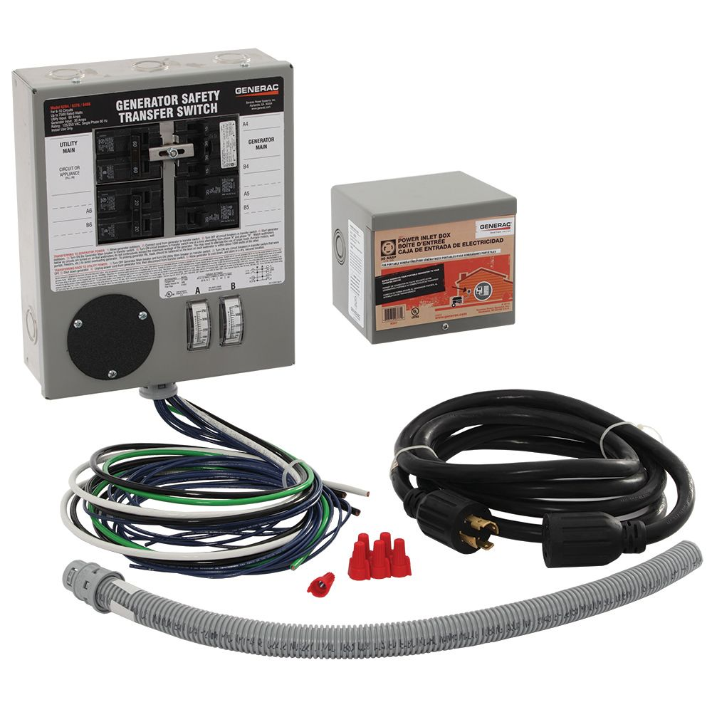 Generac 30 Amp Indoor Generator Transfer Switch Kit For 6 10 Sub Panel Fuse Box Circuits The Home Depot Canada