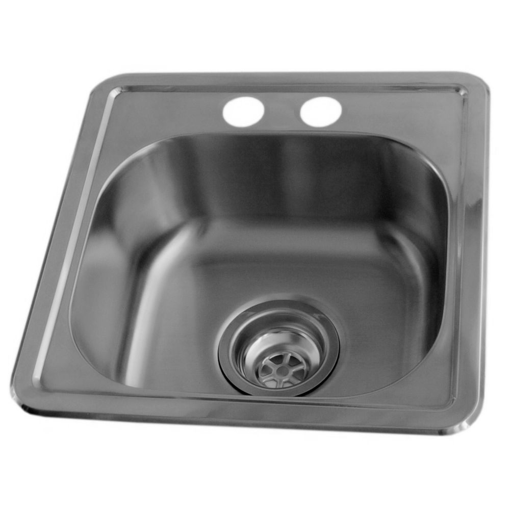 Stainless Steel Bar Sink, Single Bowl, 2 Faucet Holes- 4 Inch Centers