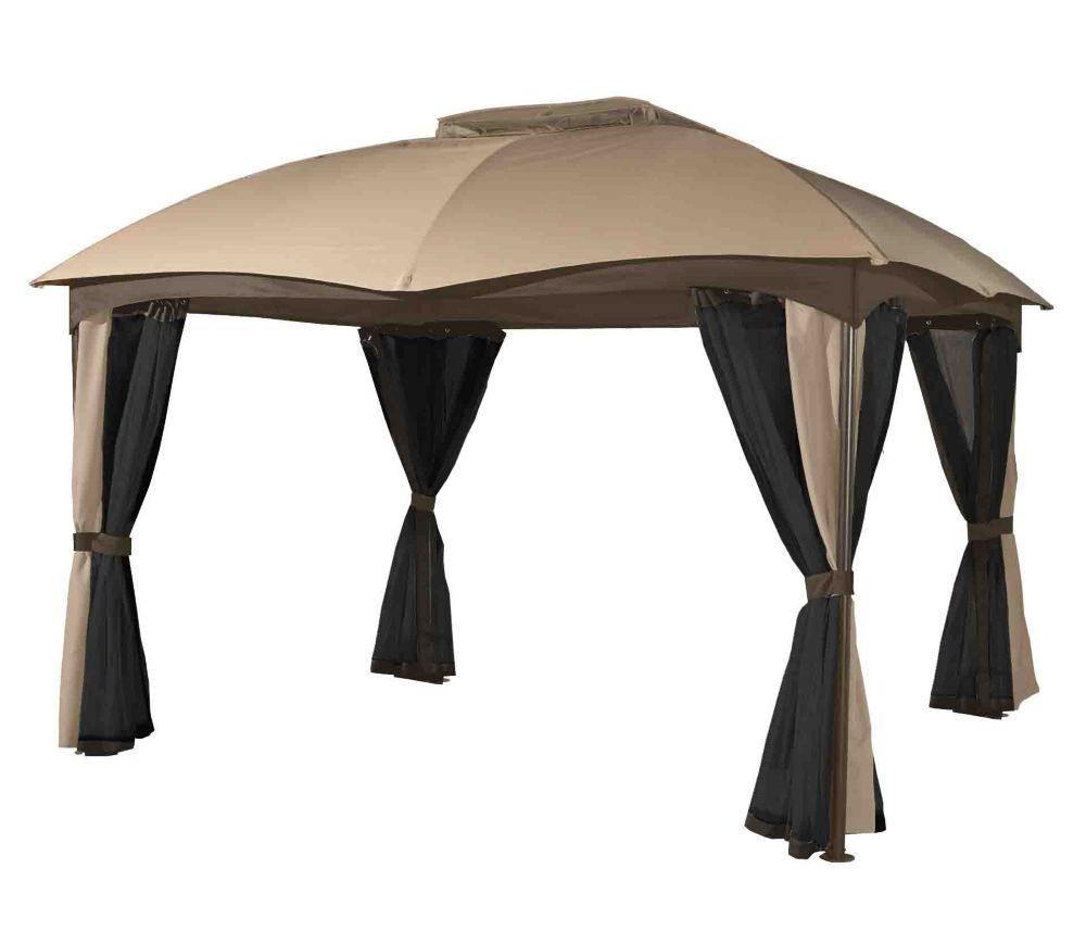 Sojag phuket 10 ft x 12 ft sun shelter in beige and for Abri mural sun shelter