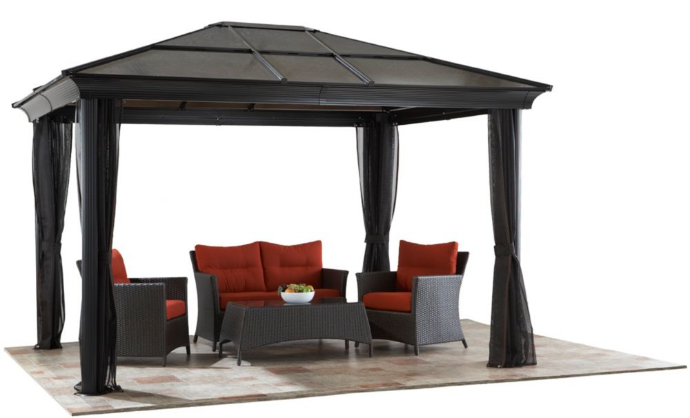 Sojag st paul 10 ft x 12 ft sun shelter in dark brown for Abri mural sun shelter