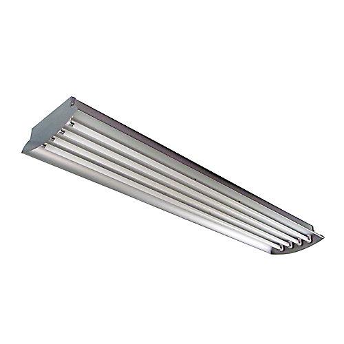 Luminaire en aluminium à 4 tubes fluorescents T5 à puissante luminosité de 54 watts (chacun) pour salle de grande hauteur, 4pi