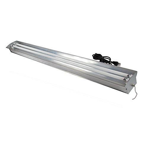 Luminaire en aluminium à 2 tubes fluorescents T5 à puissante luminosité de 54 watts (chacun) pour horticulture, avec tubes