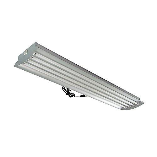 Luminaire en aluminium à 4 tubes fluorescents T5 à puissante luminosité de 54 watts (chacun) pour horticulture, avec tubes, 4pi