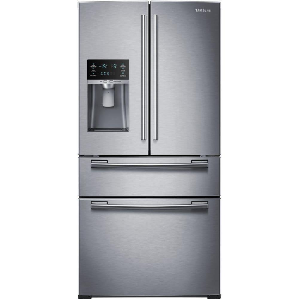 Réfrigérateur à quatre portes françaises de 25 pi. cube, acier inoxydable - RF25HMEDBSR