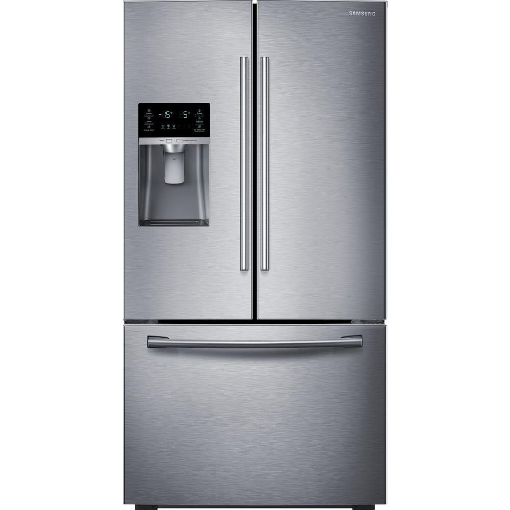 23 cu. ft. Three-Door French Door Counter Depth Refrigerator in Stainless Steel