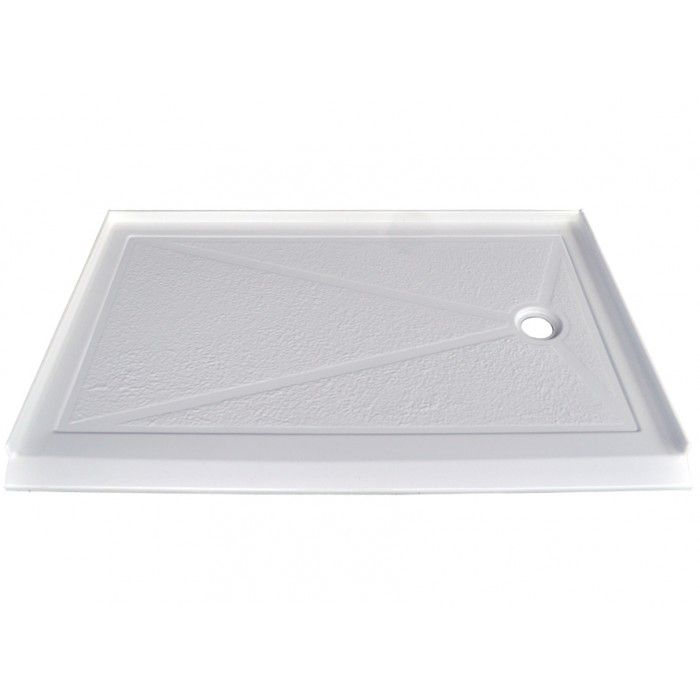 SERENE 60 X 32 Inch Barrier Free Single Threshold Shower Base with Offset Drain Right Hand Drain ...