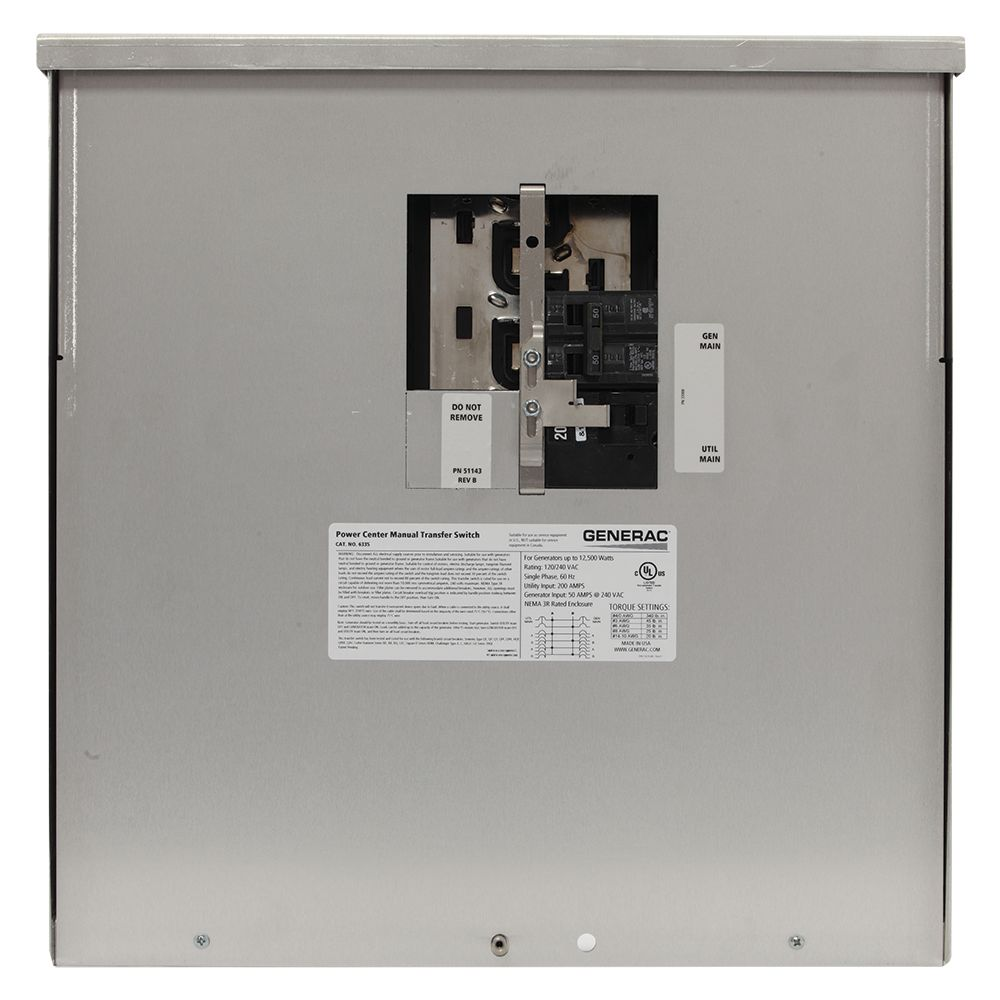 Generac 200-Amp 12,500-Watt Non-Fuse Outdoor Manual Transfer Switch