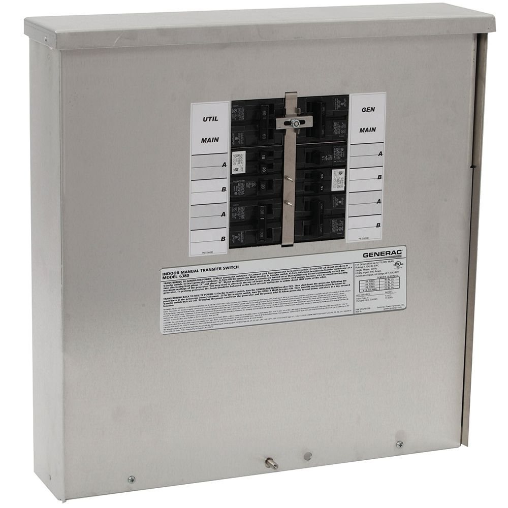 Generac 30-Amp Manual Transfer Switch 10-16 Circuits 7.5kW Outdoor