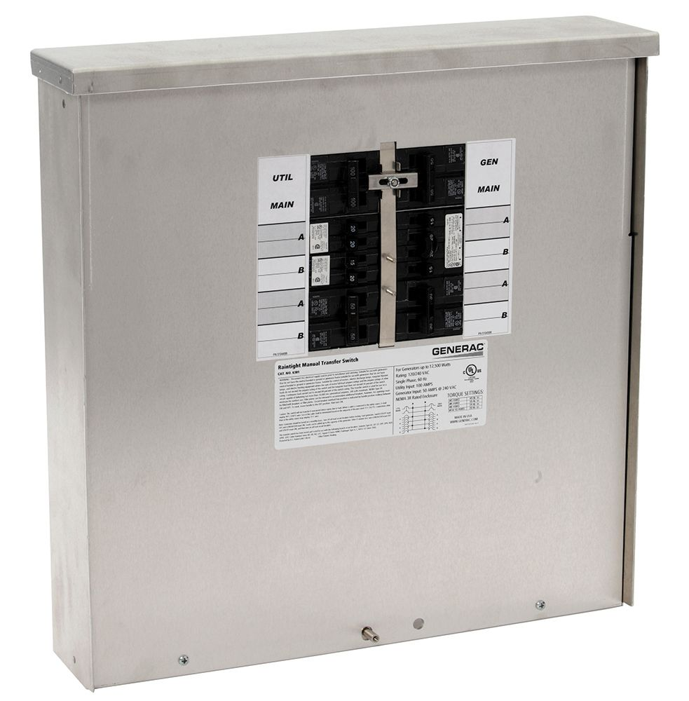 generac 50 amp 12 500 watt outdoor manual transfer switch. Black Bedroom Furniture Sets. Home Design Ideas