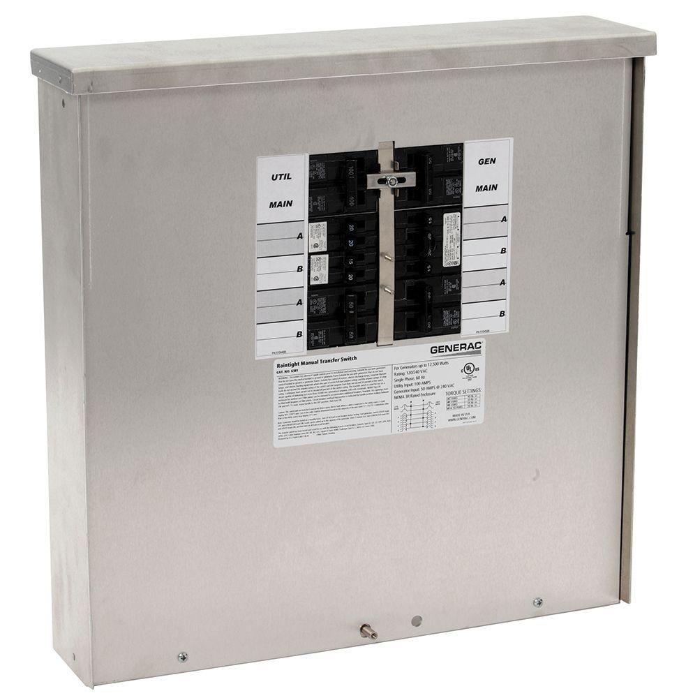 Generac 50-Amp 12,500-Watt Outdoor Manual Transfer Switch for 12-16 Circuits