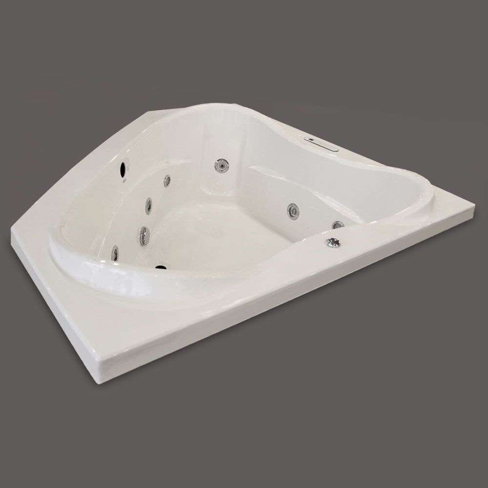 LUXE 5 Feet Acrylic Corner Bathtub with Right-Hand Pump with Whirlpool Jets
