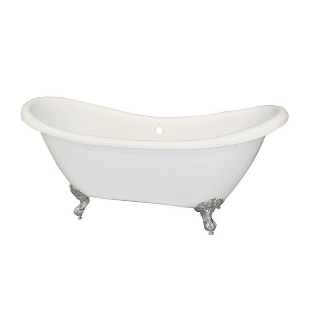Royal Acrylic Freestanding Clawfoot Non Whirlpool Bathtub in White