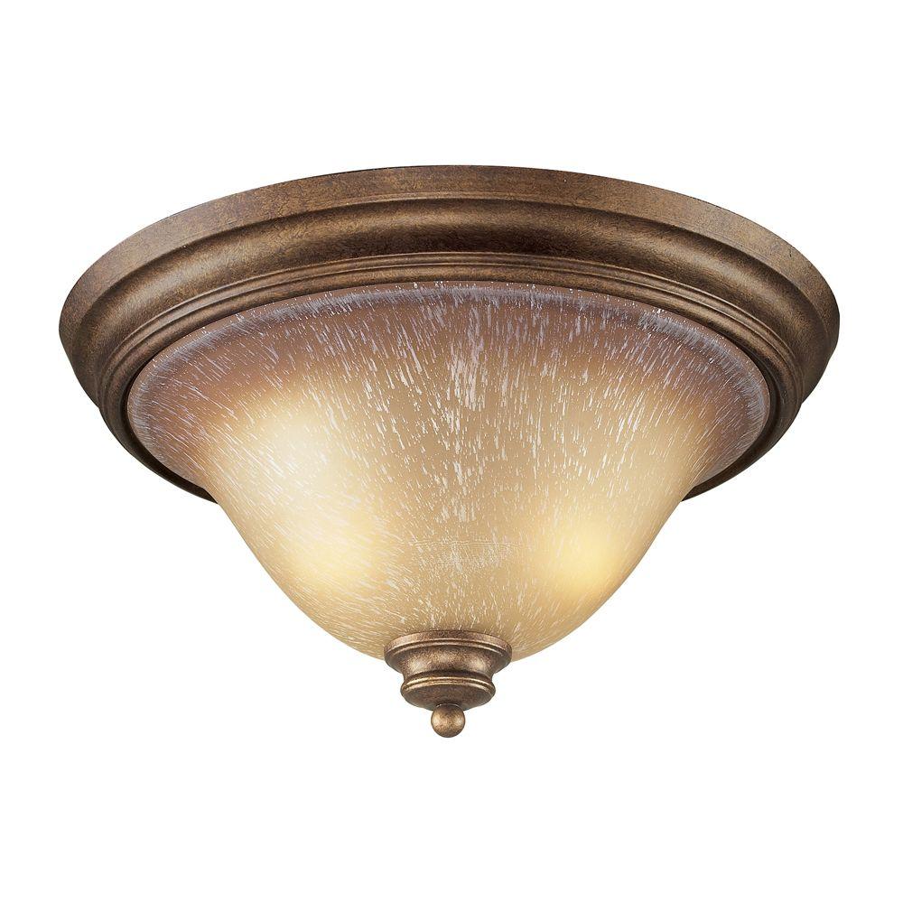 Titan Lighting 2 Light Ceiling Mount Mocha Flush Mount