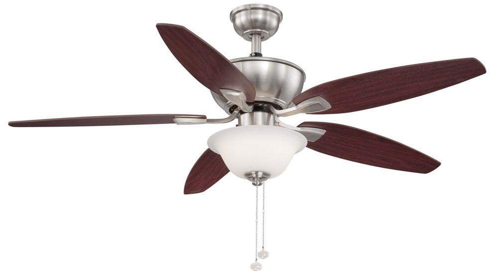 Hampton Bay Carrolton II LED 52 Inch. Brushed Nickel Ceiling Fan