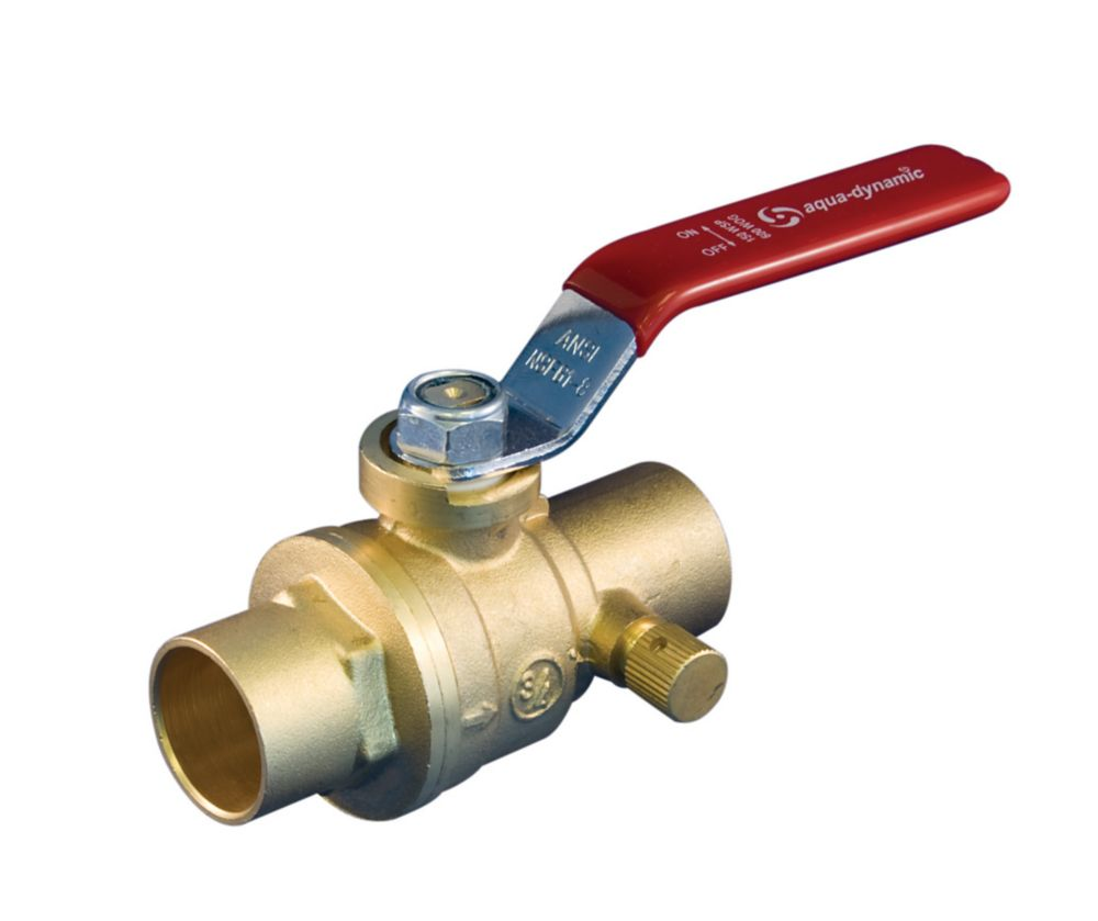 Aqua-Dynamic Ball Valve 1/2 Inch With Drain Brass Solder Full Port Lead Free
