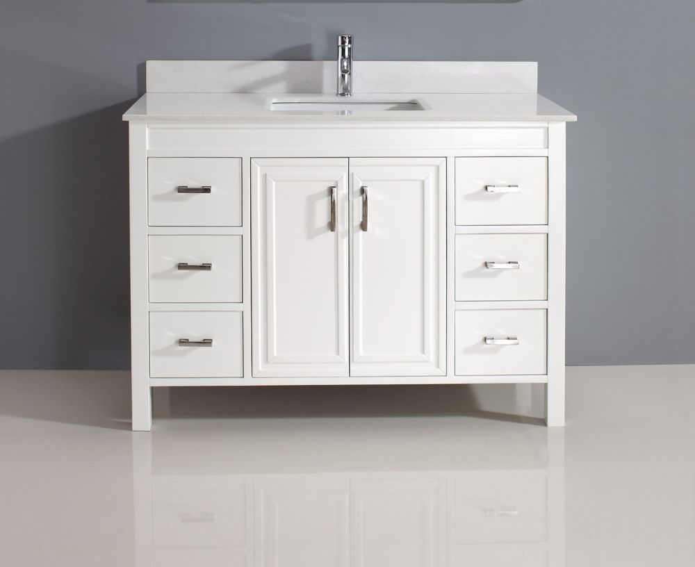 Art Bathe Corniche 48-inch W 6-Drawer 2-Door Vanity in White With Artificial Stone Top in Off-White