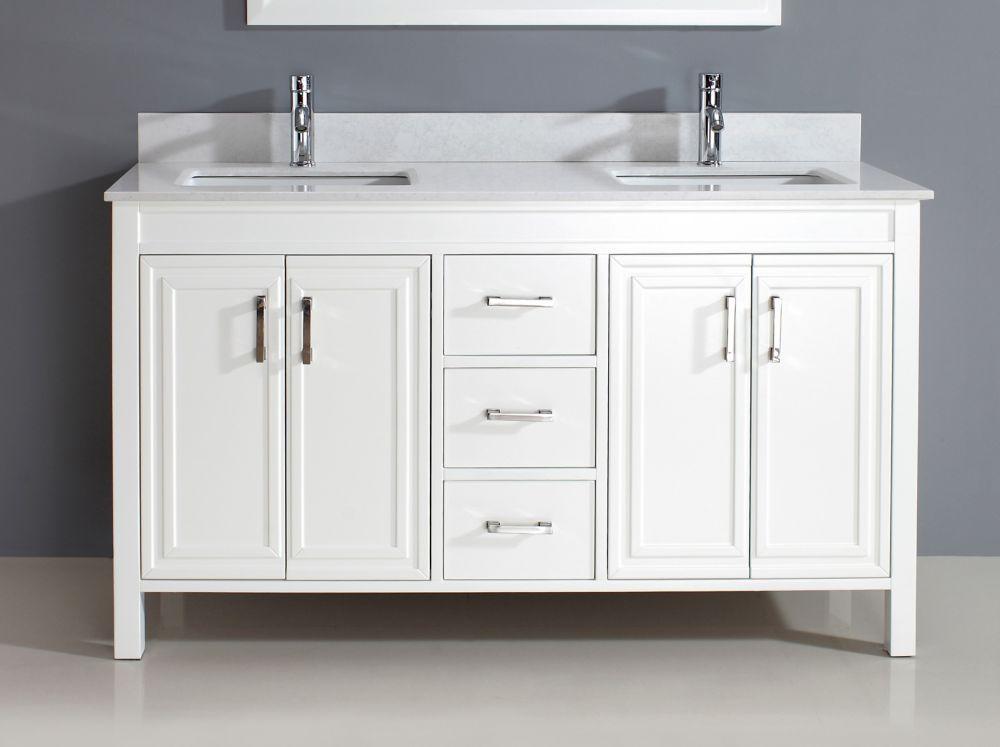 Vanité double Corniche 60 de couleur blanc avec miroirs et robinets