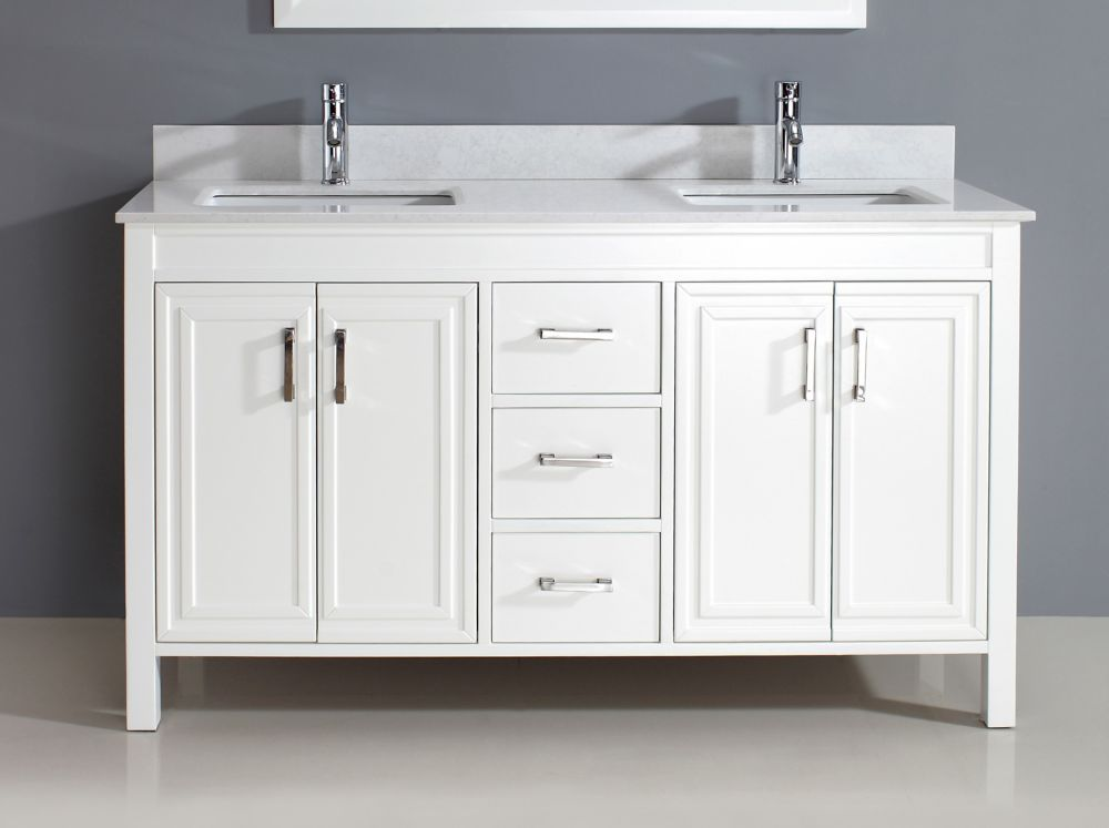 Corniche 60-inch W Double Vanity in White with Stone Top with Porcelain Basin and Mirror