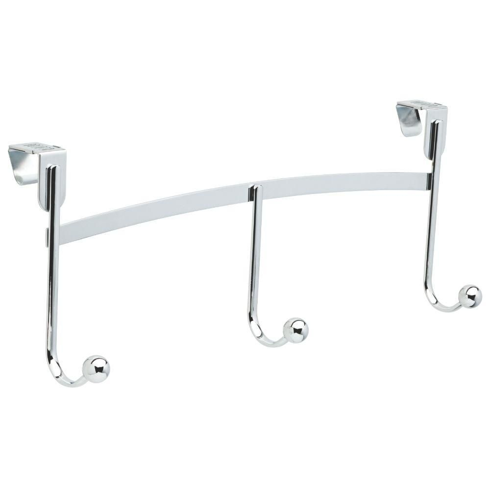 17 in. Lillington Adjustable Over-the-Door Hook Rail Chrome